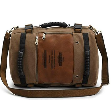 Men Multi Function Canvas Backpack Male Messenger Shoulder Bag Large Capacity Laptop Travel Backpack for Men and Women