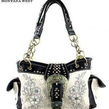 Montana West Buckle Floral Purse White
