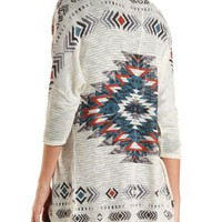 Aztec Cocoon Duster Cardigan by Charlotte Russe - Taupe Combo