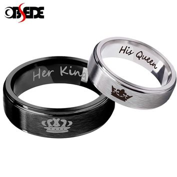 OBSEDE Fashion 1 pcs His Queen Her King Couple Ring Stainless Steel Wedding Ring for Women Men Jewelry Silver/Black Gift Crown