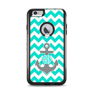 The Teal Green and Gray Monogram Anchor on Teal Chevron Apple iPhone 6 Plus Otterbox Commuter Case Skin Set