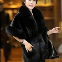 Fur coat Female Fur vest 2016 Women's Mink fur faux outerwear Coat Fox Collar Outerwear Lady Winter Sleeveless Vest