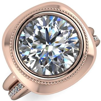Fiona Round Moissanite Vintage Cushion Shaped Bezel Set Fiona Ring
