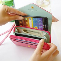 Mint Blue Smart Crown Style Pouch Wallet For Multi Purpose