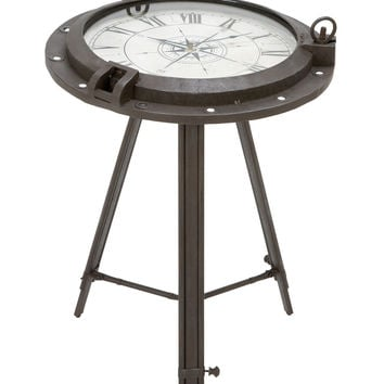 Vintage Porthole Clock End Table