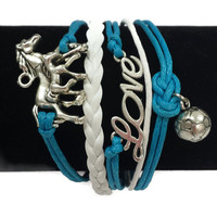 Blue & White Horses/Love/Soccer Ball Layered Cord Bracelet