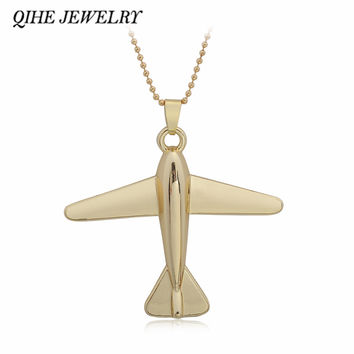 QIHE JEWELRY New Fashion Brand Simple Design Golden Aircraft Airplane Necklace Men Women Jewelry Chain Collares Choker Necklaces