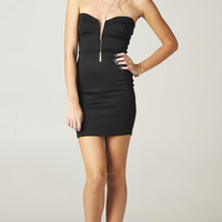 PLUNGING BODY CON DRESS - BLACK