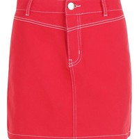 Contrast Stitch Denim Skirt | Boohoo
