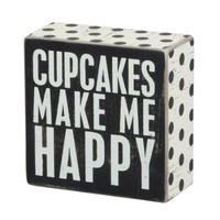 Primitives by Kathy Square Box Sign, 4-Inch, Cupcakes