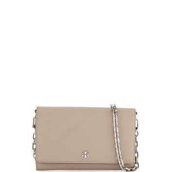 Tory Burch Robinson Saffiano Chain Wallet, French Gray