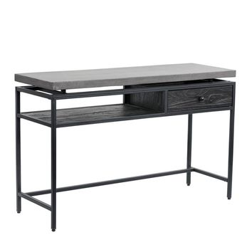 ORMEWOOD BLACK METAL FRAME-PINE WOOD DRAWER IN COFFEE BEAN FINISH WITH GREY CONCRETE TOP CONSOLE TABLE