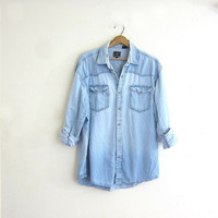 20% OFF SALE Vintage Light Wash denim Shirt. Boyfriend Shirt. Oversized distressed Shirt. Slouchy Jean Shirt.