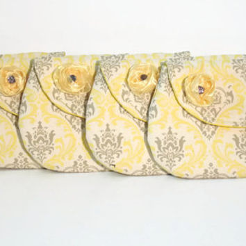 Set of Five (5) Yellow and Gray Bridesmaid Clutches/Bridesmaid Clutches/Yellow Grey Clutch Set of Five