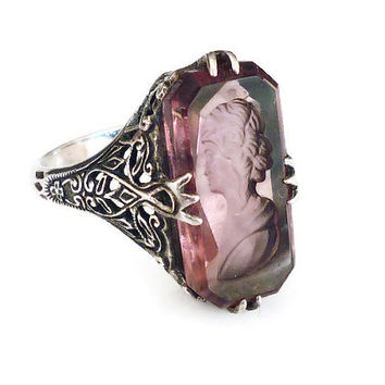 Heirloom 73 Ring, Sterling Silver, Amethyst Glass, Reverse Inglio, Cameo, Filigree, Art Deco Style, Vintage Jewelry