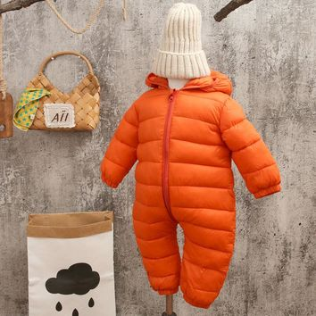 Baby rompers snow wear Christmas gift for baby clothes Winter thermal cotton outwear baby one pieces cotton rompers
