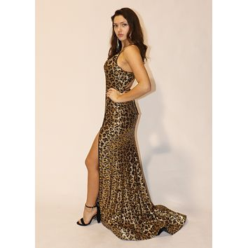 Cheetah Sequin Gown with Zipper Slit