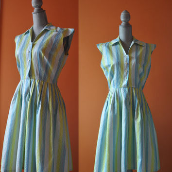 Vintage 1950s dress | striped blue and bright green cotton 50s dress • Twirl dress