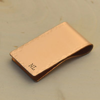 Personalized hammered copper money clip hand stamped for 7th anniversaries, dads, and custom gifts