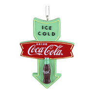 Coca-Cola Retro Wood Christmas Tree Ornament, Mint, 3-1/4-Inch