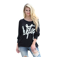 "Black ""WIFEY""Print Off One Shoulder Loose Sleeve Shirt"