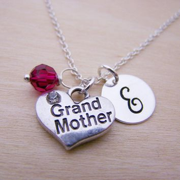 Grandmother Charm Swarovski Birthstone Initial Personalized Sterling Silver Necklace / Gift for Her - Grandma Necklace