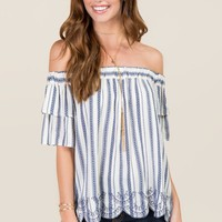 Lola Off The Shoulder Embroidered Scallop Hem Top