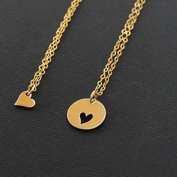 Mother Daughter Jewelry. Mom and Daughter Necklace. Heart Necklace. 14k Gold Cut Heart Pendant set. Personalized Charm Necklace.  Mom Gift.