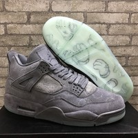 KAWS Air Jordan 4 Retro Cool Grey White Glow Best Quality With Box Basketball Shoes