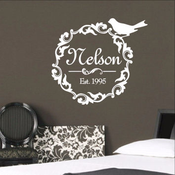 Family Name Decal - Damask Wreath With Bird Wall Decal 3 22256