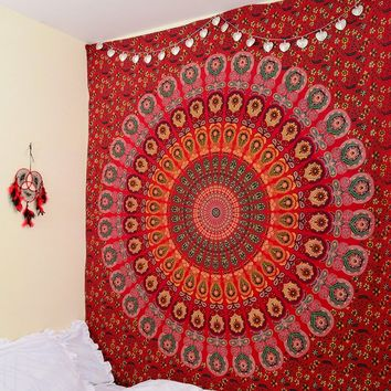 Cilected Red Peacock Mandala Tapestry Home Decor Wall Hanging Indian Beach Throw Blanket Rectangle Boho Beach Bedspread 145x210c