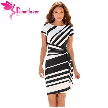 Dear Lover work dresses women  Autumn Pencil Red/Black/Navy White Stripe Knot Sheath Party Dress Vestidos Robes Casual 61657