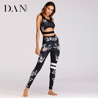 DANENJOY Sexy Comfortable Printing Fitness Set Clothing For Woman 2018 Sports Yoga Set Sport Jumpsuit For Women Workout Clothes