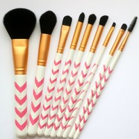 Amazon.com: Makeup Brush Set 9pc Pink Chevron Professional Makeup Brushes Set Plus Makeup Ba...