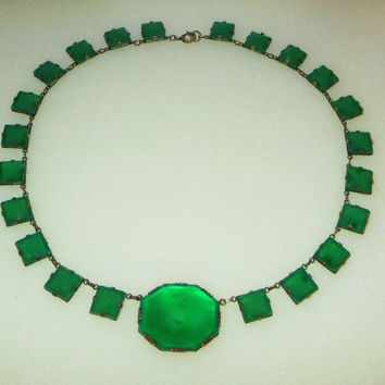 Art Deco Czech Art Glass Necklace, Chrysoprase Green Crystal, Open Back Collar Choker, 1920s, Vintage Art Deco Jewelry