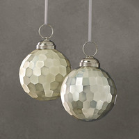 Solid Faceted Metallic Ornament - Silver (Set of 2)