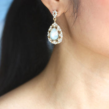 White Opal Gold Crystal Teardrop Earrings,Bridal Earrings,Bridesmaid Wedding Earrings Gift Jewelry,Prom Earrings,Bridal Opal Earrings