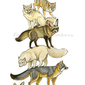 Fox Stack Painting Print - Wall art, animal stack, fennec, bat-eared, grey, red, arctic, corsac foxes, Totem Pole