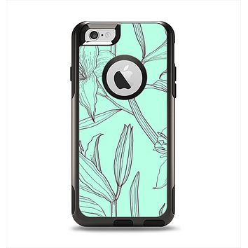 The Teal & Brown Thin Flower Pattern Apple iPhone 6 Otterbox Commuter Case Skin Set