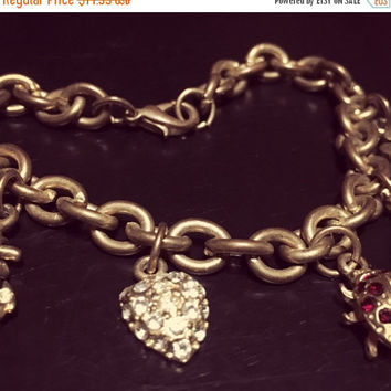 5 DAY SALE (Ends Soon) Vintage Gold Charm Bracelet w/Genuine Crystal Accents