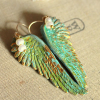 Angel wings patina pearly Heart with goldfield ear by iloniti