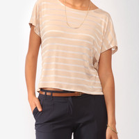 Draped Burnout Stripes Top | FOREVER21 - 2000046050