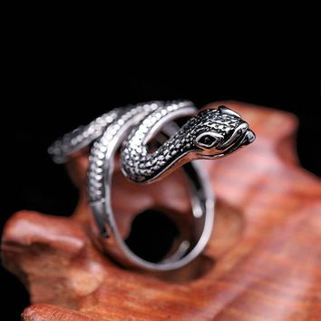 1pc Gothic Silver Men *Women Ring Snake Animal Stainless Steel Rock Vintage Jewelry