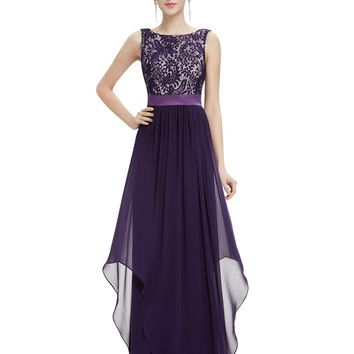 Gorgeous Colorful Round Neck/Lace Bodice/Chiffon Floor-Length Summer Evening Party Dresses.   In Sizes 4 to 16.   Colors: Red, Black, Dark Green, Navy Blue, Sapphire Blue and Dark Purple.   ***FREE SHIPPING***