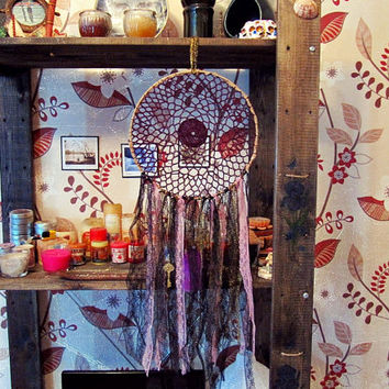 Bohemian Dreamcatcher - Dark Purple and Gold Bohochic Dreamcatcher - Made To Order- Boho Hippie Bedroom Decor - Gypsy Wall Decor