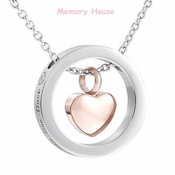 I Love You to the Moon and Sun Back Circle With Blank Heart Urn Charm Cremation Ashes Pendant Necklace Free Engraving Name