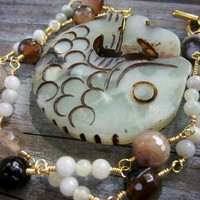Onyx and Jade Gemstone Gold Wire Wrapped Necklace Rustic Asian Themed Jewelry