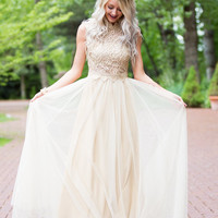 The Most Beautiful Day Lace Tulle Dress Gold