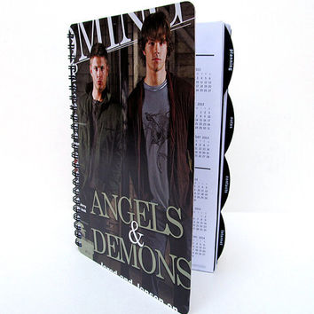 Supernatural 2012 - 2013 Daily Planner / Calendar Up-Cycled Sam and Dean