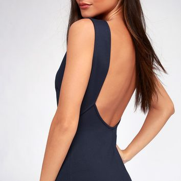 Like a Lady Navy Blue Backless Midi Dress